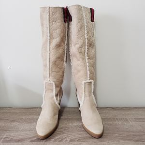 Gucci guccisima suede and shearling wedge boots 9